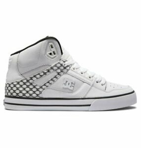 DC Pure High Top WHITE/BLACK MONOGRAM Leather Skate Shoes Trainers Various Sizes