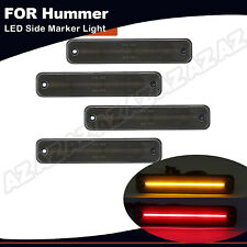 For 2003-2009 HUMMER H2 Smoked LED Side Marker Light Front Rear Set Amber/Red 4X
