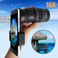 Telescope Phone Camera Lens Scope Holder 16x52 Zoom Hiking Monocular Telephoto