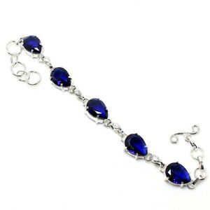 Blue Tanzanite Gemstone Handmade 925 Sterling Silver Jewelry Bracelet Sz 7-8