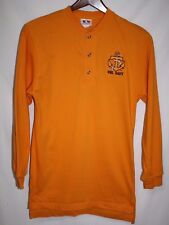 Castaways Mens SMALL VOL NAVY Anchor Henley LS Split Tail Yellow 3 Button Shirt