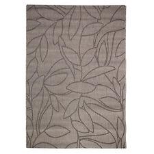 Large Natural Look Flatweave Leafy design Rug Beige and Black 160x230cm