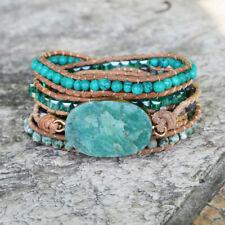 Handmade Leather 5 Times Wrap Bracelet Gold Amazonite Stone Beads Unisex Holiday