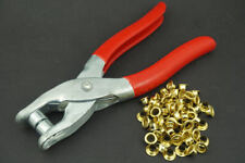 CRAFT FABRIC EYELET PLIERS TOOL KIT & 100 FREE BRASS GOLD EYELETS GROMMETS