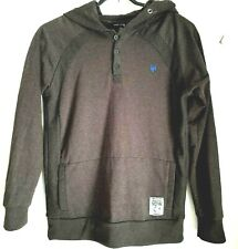 ZOO YORK Men's Dark Grey Hooded Jumper Size L Large Hoodie Button Up Collar