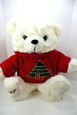 Vtg Main Joy Ltd Christmas White Teddy Bear 1997 Plush 14''