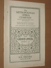 Metropolitan Opera Co - Vintage 1930 Fox Theatre Program Booklet - Washington DC