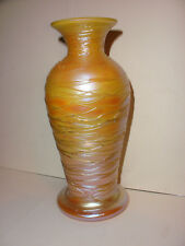 Antique Early 20thc Durand Art Glass Gold Iridescent Threaded Vase