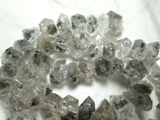 10-15 mm 16 in (environ 40.64 cm) Double Terminaison Rutilated Herkimer Type Diamant Quartz beads