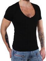 Young & Rich Party Herren Basic T-Shirt 1315 tiefer V-Ausschnitt schwarz