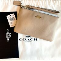 COACH Small Wristlet - Polished Pebble Leather, Beechwood / Light Gold WITH TAGS