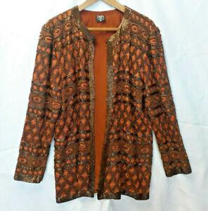 Vintage 1980's Heavily Beaded Silk Jacket, Medium, by Crystals