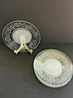 "Vintage Princess House FANTASIA Glass Poinsettias 8"" Luncheon Plates SET of 6"