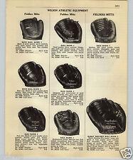 1952 PAPER AD Wilson 2 Finger Baseball Glove Ball Hawk Harry Brechen USA