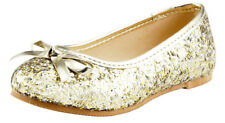 Wedding Party Girl's Glitter Sparkling Dress Shoes Slip On Gold,Blue,Red,silver
