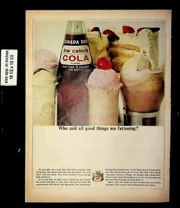 1964 Canada Dry Low Calorie Cola Vintage Print Ad 19219