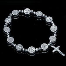 Vintage Silver Miraculous Medal Rosary Bracelet Cross Crucifix Virgin Mary Roses