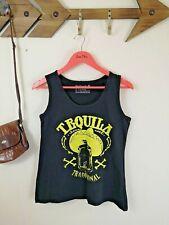 Black Vest Top. Graphic Print. Tequila. Festival. Cotton. UK 10.12. Biker.