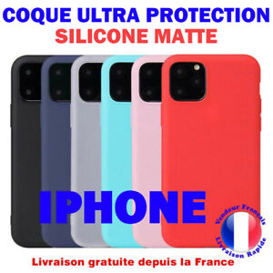 Coque iPhone 11 iPhone 12 Pro MAX MINI SE X XR XS MAX 7 8 6 plus en Silicone Mat