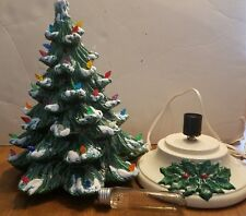 "Vintage Light Up 14"" Ceramic Christmas Tree With Base and Working Lights!"