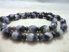 Long Chevron Amethyst & Garnet stone beads necklace