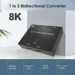 Displayport Splitter DP1.4 8K Bi-Direction Switch Adapter 1x2/2x1 Switcher DE