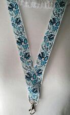 Motif Floral Bleu Cordon de sécurité Clip ID Badge Holder Teacher Étudiant Cadeau