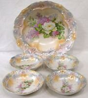 Vintage Porcelain Berry Set Master Bowl 4 Smaller Iridescent w Lilacs White Rose