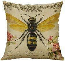 Soft Linen Bumble Bee Cushion 45x45cm Choose Cover Only or Filled Cushion Bees