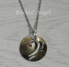 Abalone Shell Mother of Pearl Bass Clef Music Pendant Necklace Ladies Girls Gift