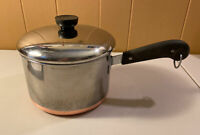 Vtg 1801 Revere Ware 2.5 Qt Quart Sauce Pan Copper Clad Bottom w/ Lid
