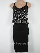 BNWT So Fabulous Black & Gold Sequin Layered Cami Bodycon Dress Size 16  RRP £57