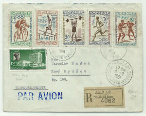 Olympic Games Rome 1960 reg. cover Morocco 1961 to CSSR
