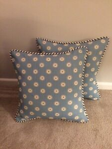 """VANESSA ARBUTHNOTT """" PRETTY MAIDS"""" PIPED CUSHION COVER TEAL/WINTER 17""""x17"""""""