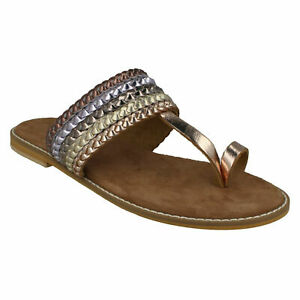 F0R0273 LADIES LEATHER COLLECTION METALLIC TOE RING SLIP ON FLAT SUMMER SANDALS