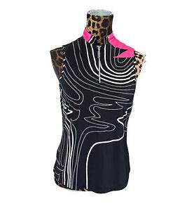Jamie Sadock Sz S Black White Hot Pink Sleeveless 1/3 Zip Top Style 32210