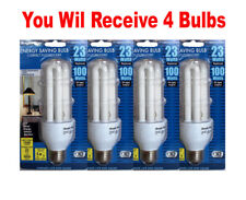 4x CFL Energy Saving 23W Light Bulb Replacing 100W 120V 3000K Warm White E26