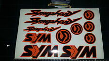 Sym Symphony Stickers / Decals ORANGE & Black 11 piece printed vinyl, 50, 125,