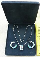 Sterling Silver necklace & earrings inlaid turquoise + stones NEW FREE ship