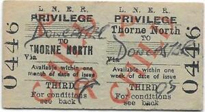 LNER Railway ticket : Thorne North - Doncaster