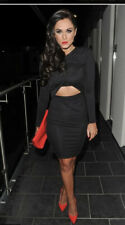 River Island Dress Midi Cutout Wrap Dress Long Sleeve Jersey Black  Size 18 DE06