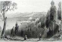 ISTANBUL, EYOUB EYUP HAGIA SOPHIA MOSQUES BOSPHORUS ~ 1839 Art Print Engraving