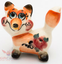 Playful Fox Collectible Gzhel style Porcelain Figurine hand-painted in Russia