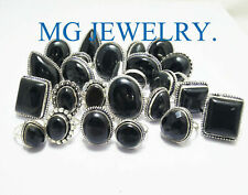 Rings .925 Sterling Silver Plated Lot Summer Sale ! 15Pcs Natural Black Onyx