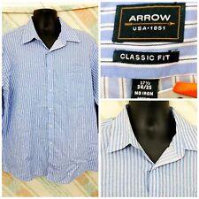 "Arrow 17.5"" 34/35 Cotton Blend LS Blue White Stripes No Iron      K12"