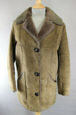 CLASSIC VINTAGE 70's LEATHER TRIMMED LIGHT BROWN SUEDE SHEEPSKIN LINED COAT 36IN