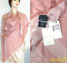 "GUCCI wool/silk Dusty Rose Monogram Giant 55""-sq scarf PASHMINA shawl NWT Authen"
