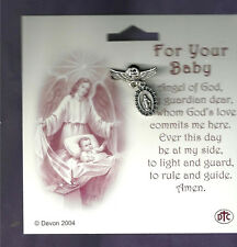 Baby Pin for Infant Miraculous Medal / Guardian Angel, Silver Plated From Italy