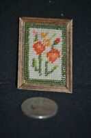 "Vintage NEEDLEPOINT Handmade Dollhouse 1:12 WALL WOOD PICTURE 2"" X 1.5"" RETRO"