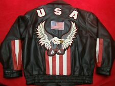 Leather USA Mens Embroidered Eagle Flag Red White Black Leather Jacket Size XL